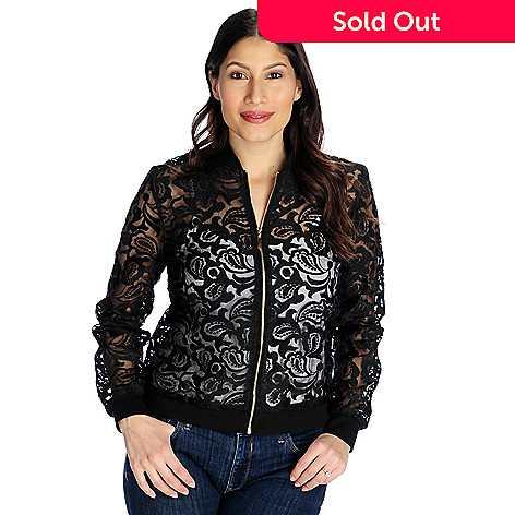 ed6e1fcdb Kate & Mallory® Knit Mesh & Embroidered Lace Long Sleeve Bomber Jacket