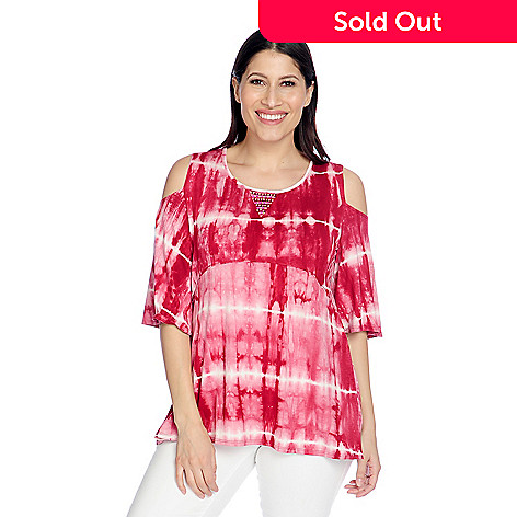 4e85bc6df5c81c 730-980- One World Knit Tie-Dye Elbow Sleeve Cold Shoulder Beaded Trim