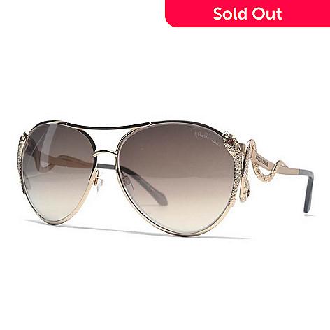 Roberto Cavalli Aviator Frame Snake Designed Sunglasses w/ Case - EVINE