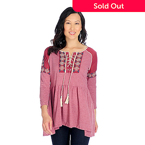 40d6b8ec4e4 OSO Casuals® Knit & Woven 3/4 Raglan Sleeve Embroidered Peasant ...
