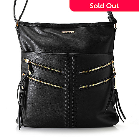 1ba0575180d3 731-181- Rampage Faux Leather Zipper Detailed Whipstitched Crossbody Bag