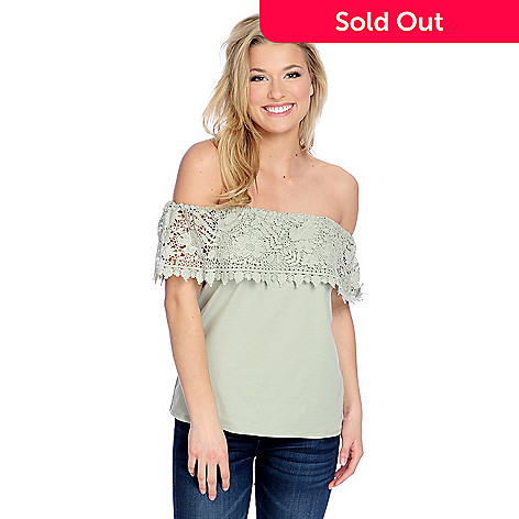OSO Casuals® Stretch Knit   Crocheted Lace Off-the-Shoulder Top - EVINE 3cdb55d7b