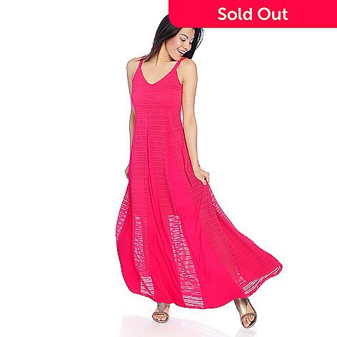 Kate Mallory Knit Mesh Sleeveless V Neck Maxi Dress Evine