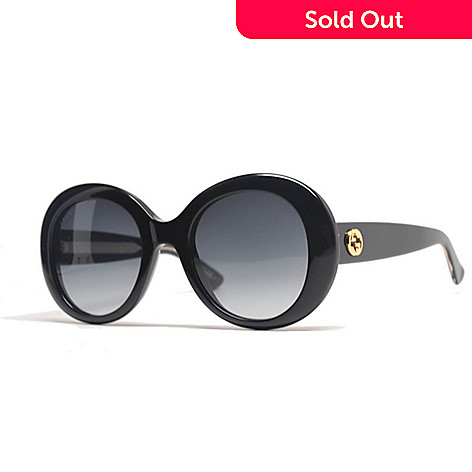 42958851c76 731-659- Gucci Gold-tone Accented Black Oversized Oval Frame Sunglasses w