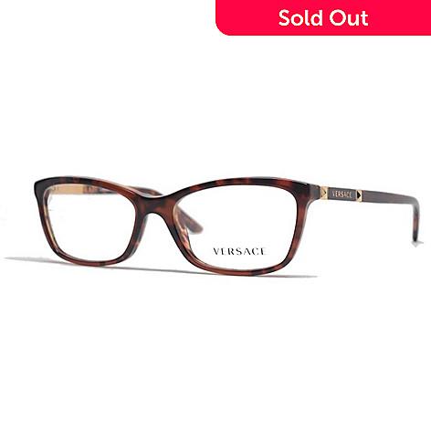 7131a34eca5f 731-665- Versace Amber Havana Faux Tortoiseshell Rectangular Frame  Eyeglasses w  Case