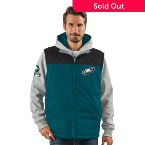 separation shoes ce70b 36388 NFL Men's 5-in-1 Fleece Hooded Jacket & Woven Reversible Vest Set