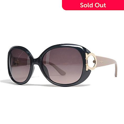 4fe36c5ab2ea 731-874- Salvatore Ferragamo Gold-tone Accented Black & Taupe Round Frame  Sunglasses