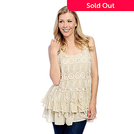 f24e5a6579e2 731-878- One World Woven & Crocheted Lace Overlay Scoop Neck Tiered Tank Top