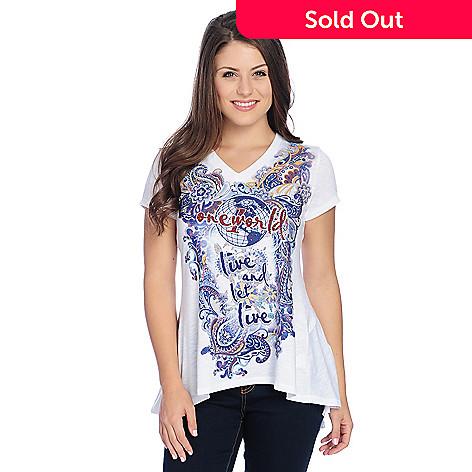 1ef41d2ca6e363 One World Printed Knit Short Sleeve Logo Embellished V-Neck T-Shirt ...