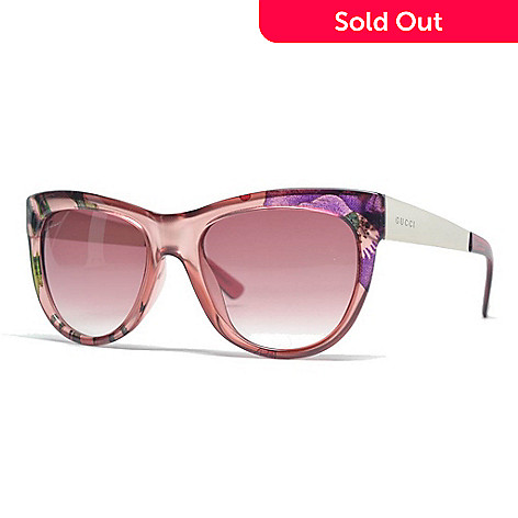 8aa1bbf49e777 732-009- Gucci Pink Floral Cat Eye Frame Sunglasses w  Case