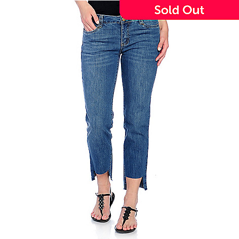 852c7828f0 732-086- mōd x Stretch Denim Frayed Cut-out Hem Cropped Jeans