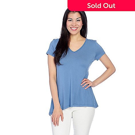 084b4809500e32 Kate   Mallory® Stretch Knit Short Sleeve Cut-out Back Hi-Lo Top - EVINE