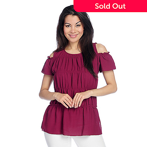 6fe83092574b75 732-500- Kate   Mallory® Stretch Woven Short Sleeve Smocked   Tiered Cold