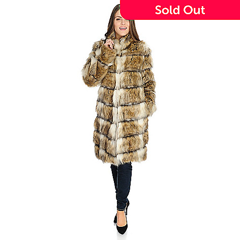 26569c381 Donna Salyers' Fabulous-Furs Faux Fur Stand Collar Fully Lined Hook Front  Coat