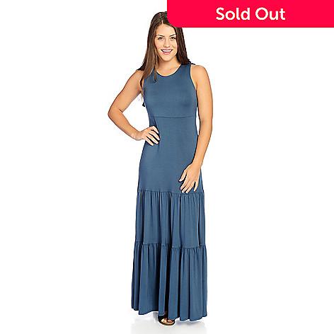 1b3e19bf357 732-959- Kate   Mallory® Stretch Knit Sleeveless Ruffled Back Tiered Maxi  Dress