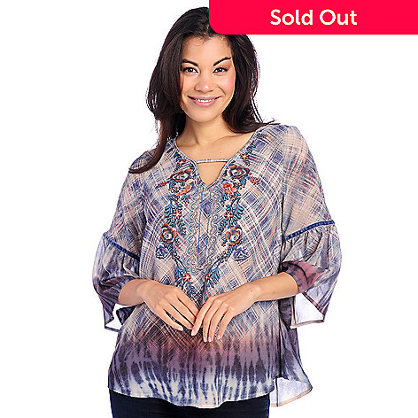 7cc68730f 733-070- One World Printed Woven 3 4 Bell Sleeve Velveteen Trimmed Keyhole