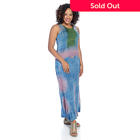 5580e34ec8b Indigo Thread Co.™ Knit Tie-Dye Sleeveless Racerback Maxi Dress - EVINE