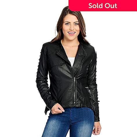 35d5fbfd98e 733-375- Kate   Mallory® Faux Leather Cord Sleeve Dual Zipper Moto Jacket