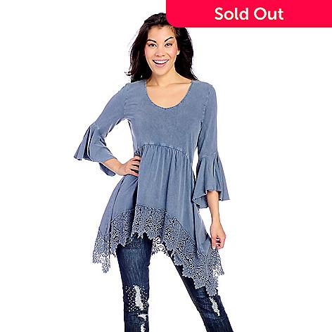 b996de0a8f2 Indigo Thread Co.™ Knit Enzyme Washed 3/4 Bell Sleeve Crochet ...