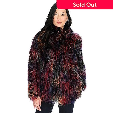 4ba402658 Donna Salyers' Fabulous-Furs Faux Mongolian Fur Pointed Collar Hook Front  Jacket