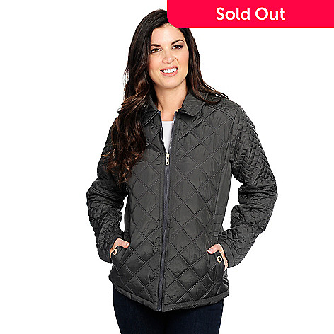 Kc Collections Quilted Woven Pointed Collar 2 Pocket Zip Front Barn