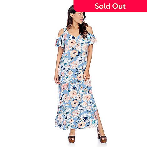 9535622066d090 733-894- Kate   Mallory® Printed Knit Short Flutter Sleeve Cold Shoulder  Side