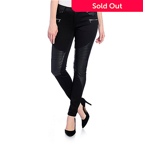 b8c7bb05911b1 734-150- Kate & Mallory® Stretch Woven & Faux Leather Zipper Detailed Skinny