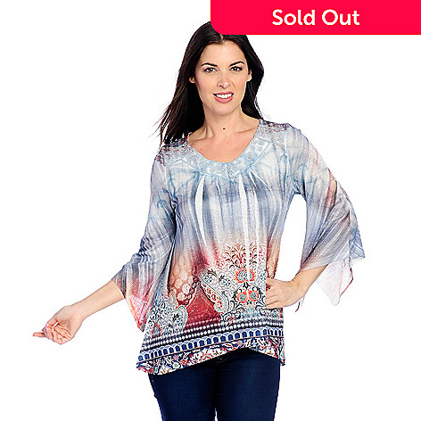 91240b94f0ba6 One World Printed Knit 3 4 Angel Sleeve Lace Trimmed V-Neck Top - EVINE