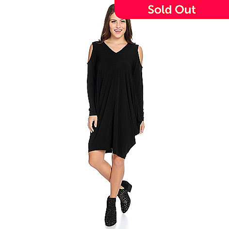 b5196e3078 734-386- Azmara Stretch Knit Long Sleeve Cold Shoulder Sack Dress