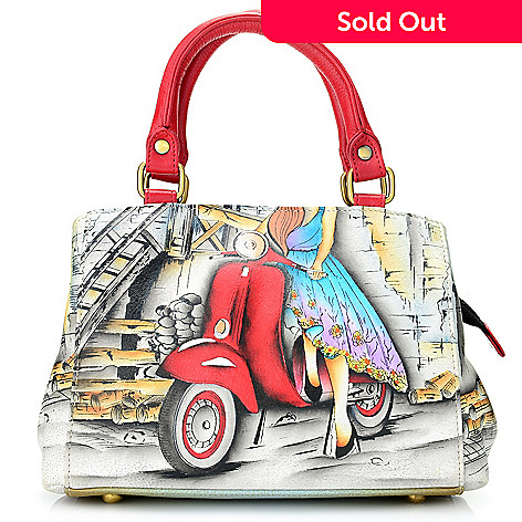 67ed6bc7a64d 734-505- Anuschka Hand-Painted Leather Triple Compartment Mini Satchel w   Strap