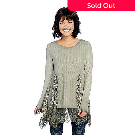 Indigo Thread Co ™ Thermal Knit & Lace Inset Long Sleeve Tunic w/ Thumb  Holes