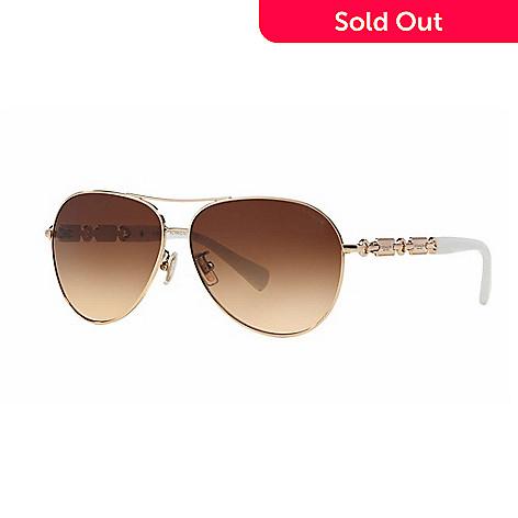 0d333e496565 Coach White Gold-tone Gradient Lens Aviator Frame Sunglasses w  Case ...