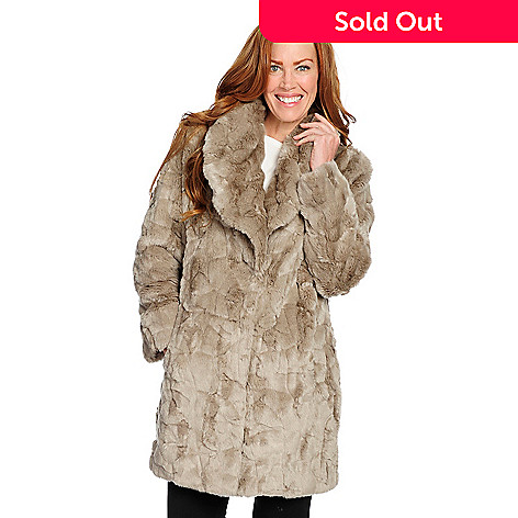 69421417522a 734-820- Pamela McCoy Faux Fur Shawl Collar 4-Pocket Swing Coat