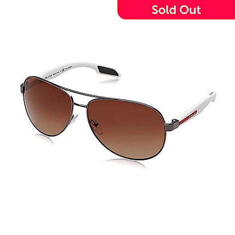 571f1a2575b 734-888- Prada 62mm Brown   White Aviator Frame Sunglasses w  Case