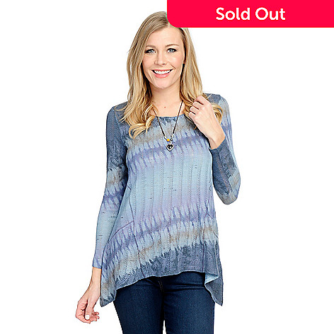 63fd196f759 734-927- One World Printed Knit Long Sleeve Sharkbite Top w  Removable  Necklace