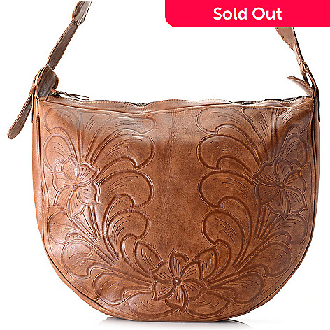 ac22e85a50c0 734-984- Labrado™ Hand-Tooled Leather Zip Top Whipstitched Crossbody Bag