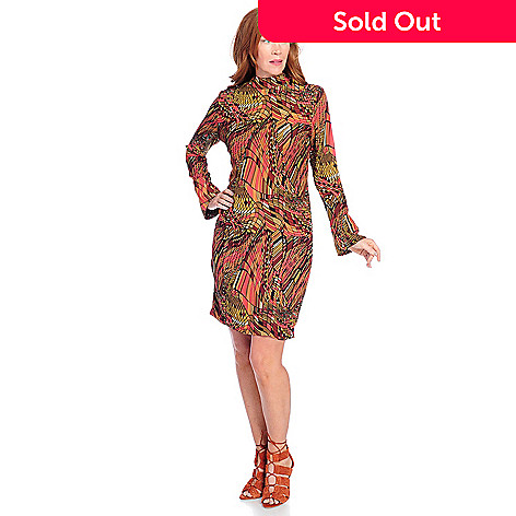 8b86967cdd 734-991- V. by Vanessa Williams Printed Woven Crepe Bell Sleeve Knit Lined