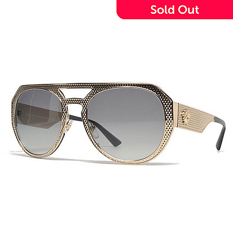 61a08f603c1d 735-220- Versace Gold-tone Aviator Frame Sunglasses w  Adjustable Nose Pads