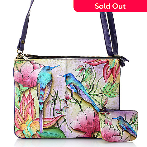 735-318- Anuschka Hand-Painted Leather Zip Top Triple Compartment Crossbody  Bag w