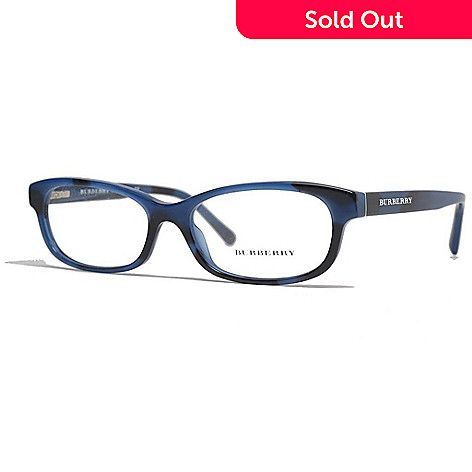 Burberry Spotted Black & Blue Oval Frame Eyeglasses w/ Case - EVINE