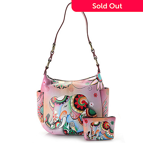 735 514 Chka Hand Painted Leather Zip Top Dual Side Pocket Hobo Handbag