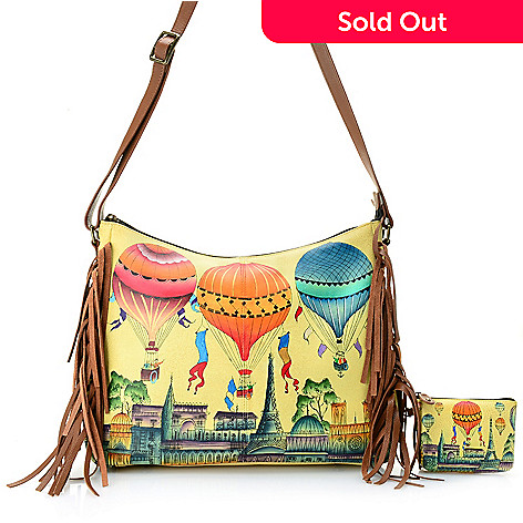 c9a27e0de07 735-684- Anuschka Hand-Painted Leather Fringed Hobo Bag w  RFID Blocking