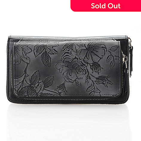 4a73e1c21574 735-730- Firenze Bella Tooled Leather RFID Blocking Dual Compartment Zip  Around Wallet