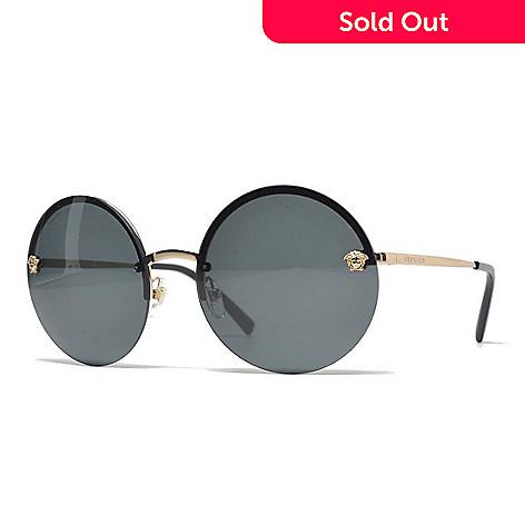 735-809- Versace Gold-tone   Grey Round Frame Sunglasses w  Case 83477c2d16b
