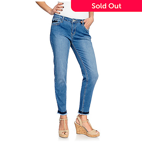 2f522de4916f 736-147- OSO Casuals® Denim 5-Pocket Embroidered Ankle-Length Frayed