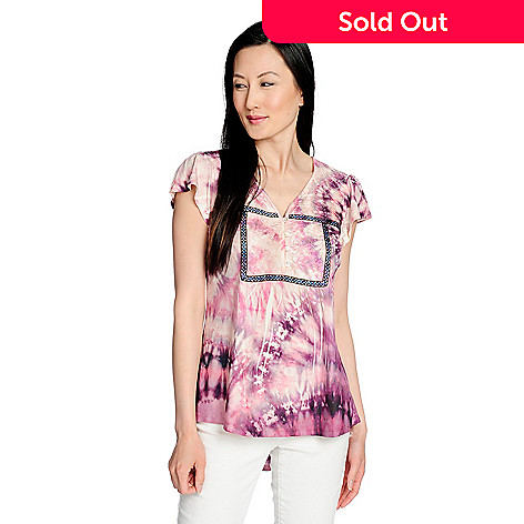 7478291fcfd 736-352- One World Printed Knit Flutter Sleeve Trimmed Button-up Henley Top