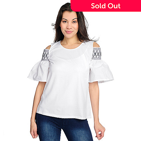 c0bb5609fb88b8 736-402- OSO Casuals® Knit   Woven Bell Sleeve Cold Shoulder Smocked Top
