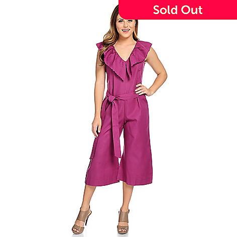 19f9c7f1afb3 Kate   Mallory® Woven Sleeveless Ruffled V-Neck Tie-Waist Zip Back ...