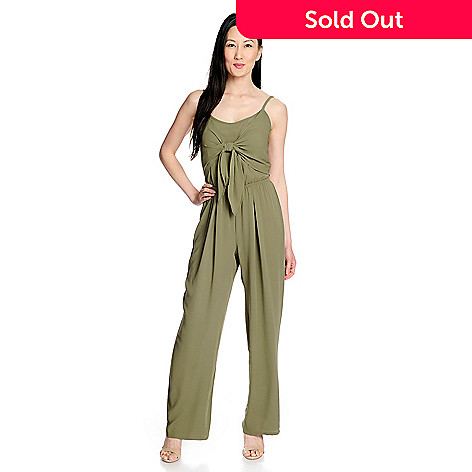 061bfd9d15e6 mōd x Woven Crepe Sleeveless Cut-out Back Tie-Front Smocked Jumpsuit ...