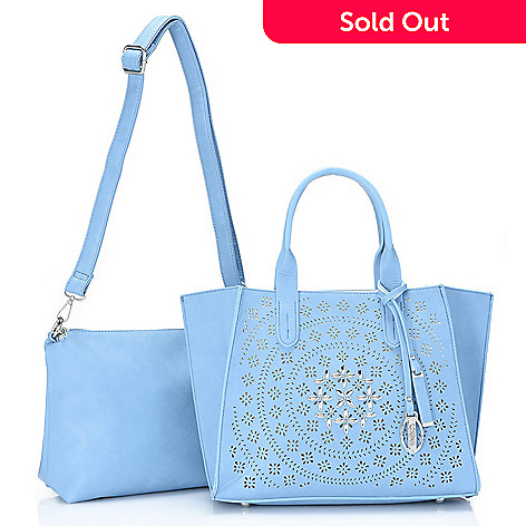 736-727- Carlos by Carlos Santana Studded Laser Cut Tote Bag w  Crossbody 72ea792ae6